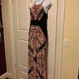 New York and Company maxi dress. Pink black white